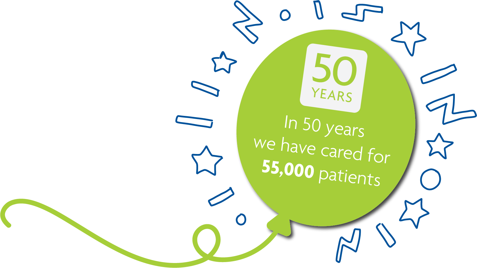 In 50 years we have cared for 55,000 patients