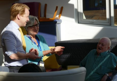 Ben Gummer MP and Elaine Syrett, Clinical Manager in the Anniversary Centre, chat to St Christopher's patients 30 Sept 2015