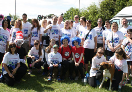 Donna Burden's family and friends walking at Fun Walk 2015