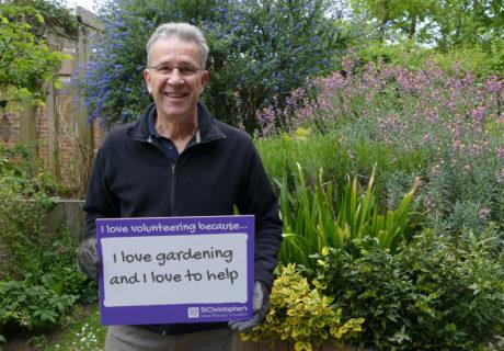Volunteer gardener Jerry Eaton