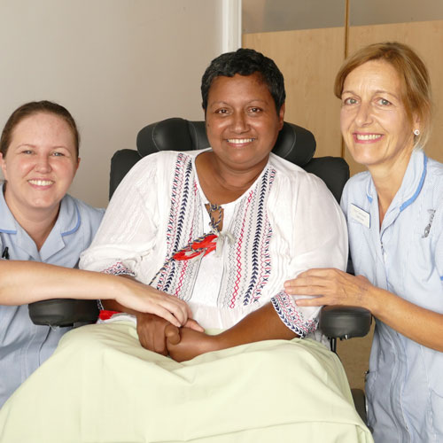 Sabina, pictured with St Christopher's Healthcare Assistant, Lisa and Nurse, Ruth
