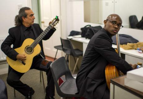 Guitarists Ahmed Dickinson and Eduardo Martin in concert