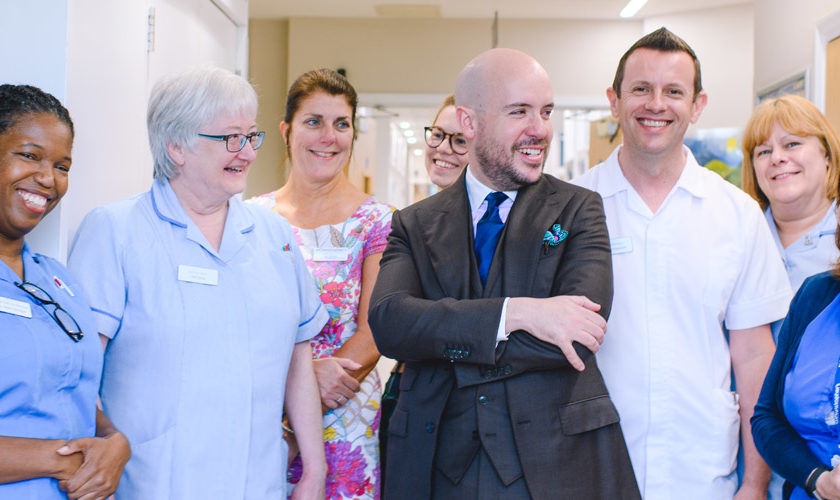 Tom Allen and St Christopher's staff