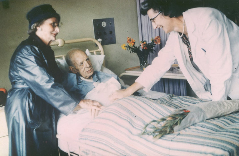 Dr Saunders with patient in the early days of St Christopher's Hospice