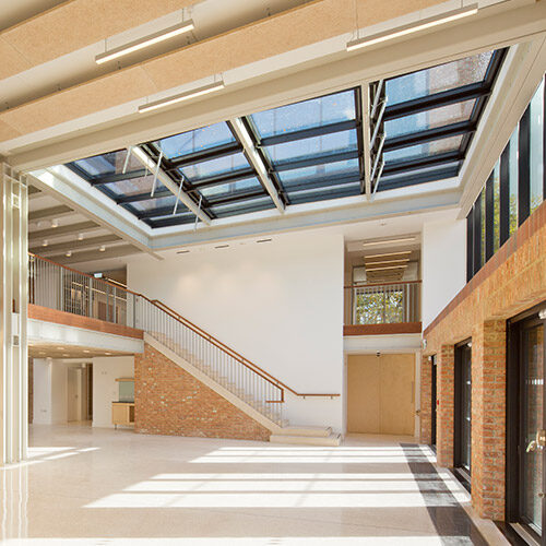 The stunning foyer in the new building